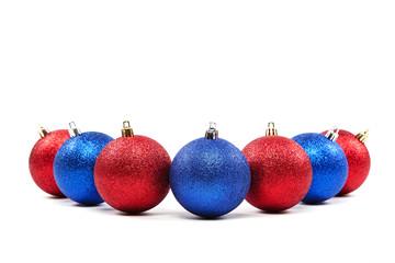 Christmas balls on a white background.