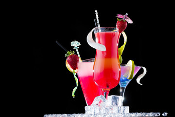 Fresh tropical strawberry cocktail