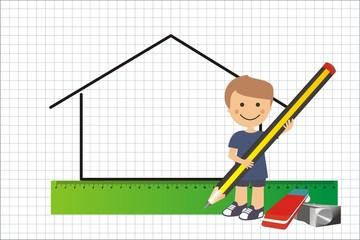 Niño dibujando una casita en cuadrícula