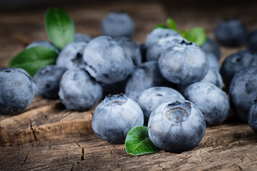 Fresh blueberry with leaves