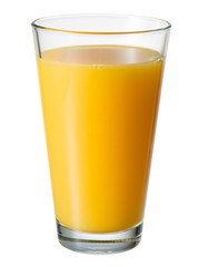 Orange juice. Glass isolated. With clipping path