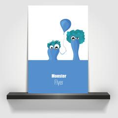 Blue Monsters on flyer design