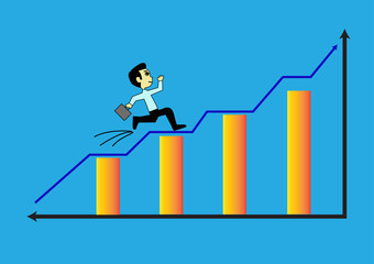 Businessman jumpping and climb on the blue arrow street to succe