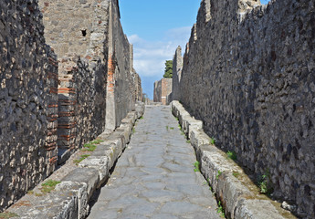 Street in ancient Pompeii, Italy