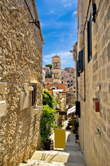 Narrow stone street in Town of Hvar