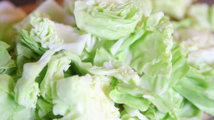 Closeup of cut green cabbage