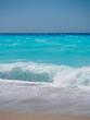 wild beach with rocks in water. Island Lefkada, Greece
