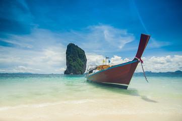 Clear water and blue sky. Beach in Krabi.