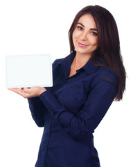 Business woman portrait with blank white banner