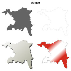 Aargau blank detailed outline map set