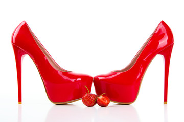 Red high heel women shoes with strawberry