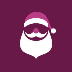Abstract Christmas Card Santa Purple