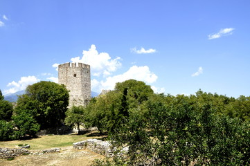 Summer day view of a castle in ruin