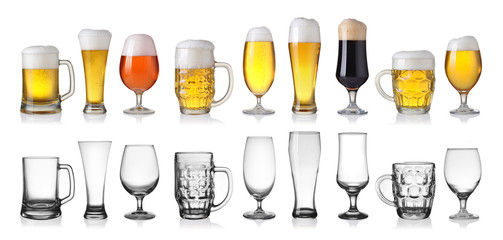 Collection of empty and full beer in glass isolated on white bac
