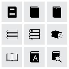 Vector black book icons set