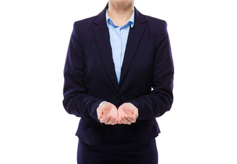 Businesswoman with two hand presenting something