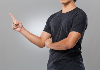 Man with finger point out