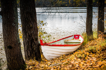Autumn park boat