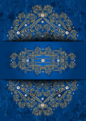 Card with banner, golden ornament and pearls