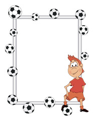 Frame with a soccer player cartoon