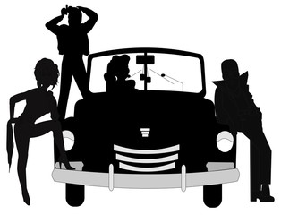 retro teens in silhouette