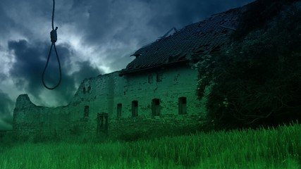 Scary abandoned farmhouse in the countryside.