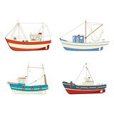 Four colourful vector fishing boats