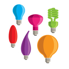 Six colourful vector lightbulbs on a white background