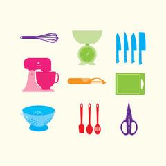 Nine colourful vector kitchen utnesils on a cream background
