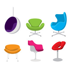 Six colourful retro designer vector chairs
