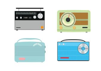 Four colourful retro vector radios