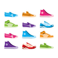 Twelve colourful trainers from a side view