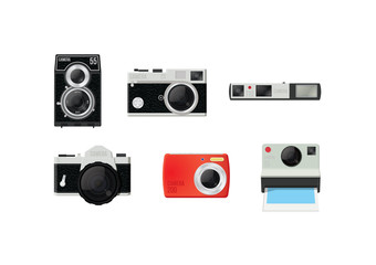 Six retro vector film cameras on a white background