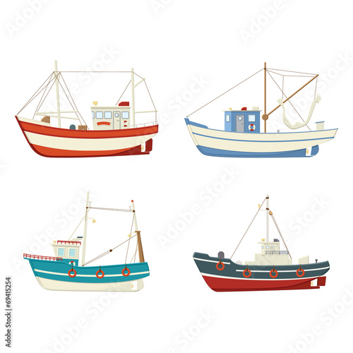 Four colourful vector fishing boats - 69415254