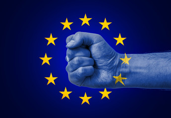 Flag Of EU Painted On A Man's Fist