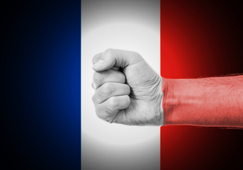 Flag Of France Painted On A Man's Fist