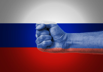 Flag Of Russia Painted On A Man's Fist