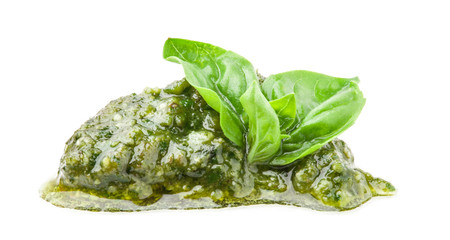 Pesto Genovese and basil isolated on white