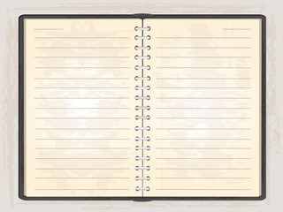 Blank note book open