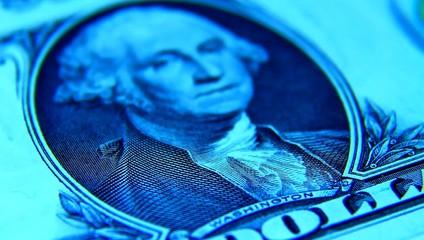 One Dollar paper money macro. geogre Washington.