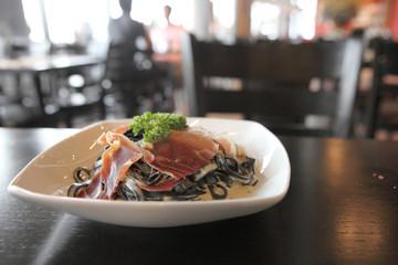 Spaghetti ink squid