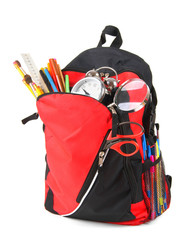 School backpack and school tools.