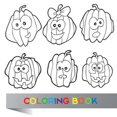 Illustration of pumpkins for coloring book