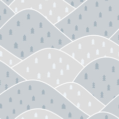 seamless pattern winter mountain
