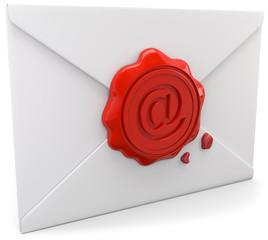 Briefumschlag mit Emailsiegel frontal