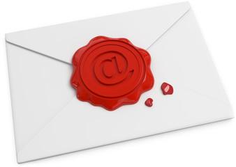 Briefumschlag mit Emailsiegel Draufsicht