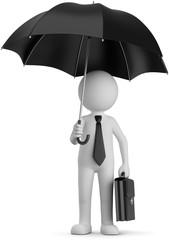Businessman mit Regenschirm