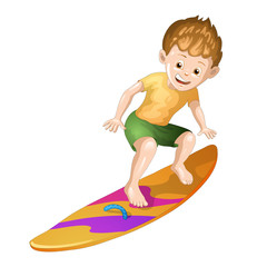 Surfer on white background