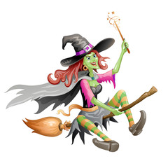 Red haired witch  flying on a broomstick