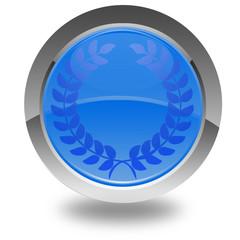 bouton bleu excellence couronne de laurier